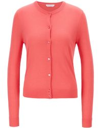 BOSS Knitted Crew-neck Cardigan In Virgin Wool - Pink