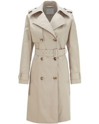 BOSS Throw-over-style Trench Coat In Water-repellent Twill - Natural