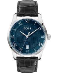 BOSS Leather-strap Watch With Textured Blue Dial - Black