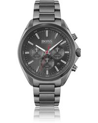 BOSS by Hugo Boss - Grey-plated Chronograph Watch With Honeycomb Dial - Lyst