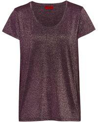 HUGO - Sparkly T-shirt With Scoop Neckline - Lyst