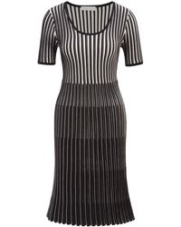 BOSS by Hugo Boss - Short-sleeved Knitted Dress In Mixed Structures - Lyst