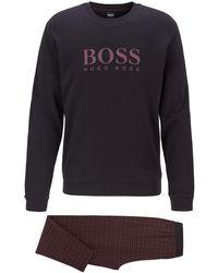BOSS Gift-boxed Pyjama Set In Interlock Cotton - Black