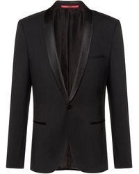 HUGO Chaqueta de esmoquin slim fit con vistas de seda - Negro