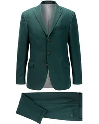 BOSS Slim-fit Suit With Three-button Jacket - Green