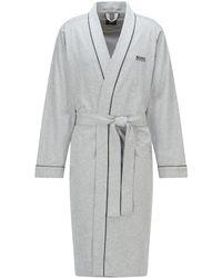 BOSS by HUGO BOSS Morgenmantel aus gebürsteter Baumwolle im Kimono-Stil mit Logo - Grau