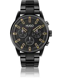 HUGO Honeycomb-dial Watch In Black-plated Steel