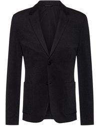 HUGO Extra-slim-fit Jacket In Stretch Interlock - Black
