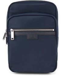 BOSS by HUGO BOSS Single-strap Reporter Bag In Gabardine With Leather Trims - Blue