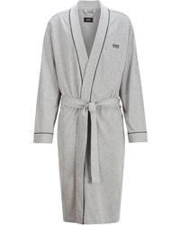 BOSS by Hugo Boss Cotton Dressing Gown: 'kimono' - Grey