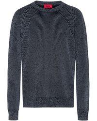 HUGO Gerippter Pullover aus reflektierendem Baumwoll-Mix mit Wolle und Rundhalsausschnitt - Mettallic