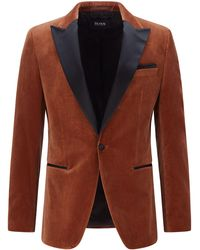 BOSS by HUGO BOSS Slim-Fit Smoking-Jacke aus Baumwoll-Samt - Braun