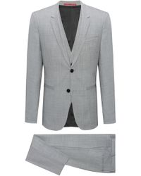 HUGO Extra-slim-fit Three-piece Suit In Check Wool - Grey