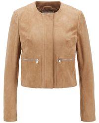 BOSS by HUGO BOSS Cropped Collarless Biker Jacket In Suede - Brown