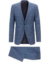 BOSS - Slim-fit Suit In Plain-check Virgin Wool Serge - Lyst