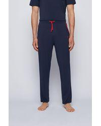 BOSS by HUGO BOSS Pyjamabroek Met Contrasterende Biezen En Logo - Blauw