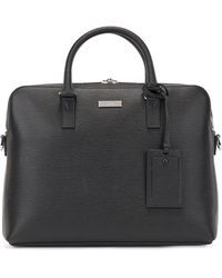 BOSS by HUGO BOSS Document Case In Emed Italian Leather With Address Tag - Black
