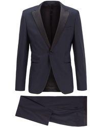 BOSS by Hugo Boss Extra-slim-fit Suit In Patterned Virgin-wool Serge - Blue
