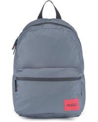HUGO Sac à dos en nylon recyclé avec étiquette logo rouge - Gris