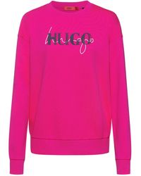 HUGO French-terry Cotton Sweatshirt With New-season Double Logo - Pink