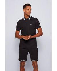 BOSS by HUGO BOSS Polo Slim Fit en coton à col rayé - Noir