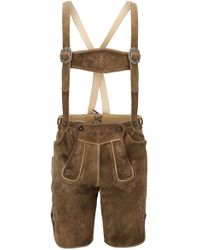 BOSS Knee-length Lederhosen In Heavyweight Suede With Decorative Stitching - Natural