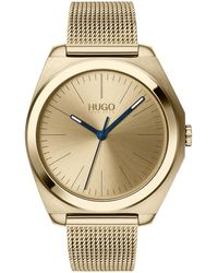 HUGO Ice-gold-plated Watch With Sunray Dial And Mesh Bracelet - Metallic