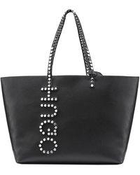HUGO - Faux-leather Shopper Bag With Stud Logo Detailing - Lyst