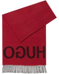 HUGO Reverse-logo Scarf In A Wool-blend Jacquard - Red