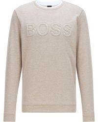 BOSS by HUGO BOSS Loungesweater In Fleece Van Een Katoenmix Met Gevuld Logo - Naturel