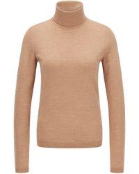 BOSS by HUGO BOSS Slim-fit Rollneck Jumper In Superfine Merino Wool - Brown