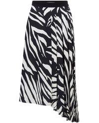 BOSS by HUGO BOSS Zebra-print Midi Skirt With Asymmetric Hem - Black