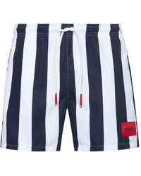 HUGO Drawstring-waist Swim Shorts With Vertical Stripe - Blue