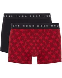 BOSS by Hugo Boss Gift-boxed Two-pack Of Trunks In Stretch-cotton Jersey - Red