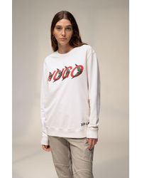 BOSS by Hugo Boss Unisex Sweatshirt In Cotton With Forest Inspired Logo Motif - White