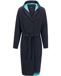 BOSS by Hugo Boss Logo Dressing Gown In Heavyweight Melange Cotton - Blue