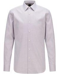BOSS by HUGO BOSS Slim-fit Overhemd Van Kreukbestendige Italiaanse Katoen Met Microstructuur - Paars