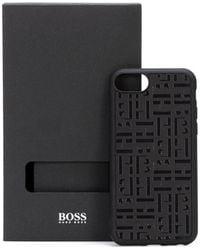 BOSS by HUGO BOSS Monogram Embossed I Phone Case Covered In Italian Leather - Black