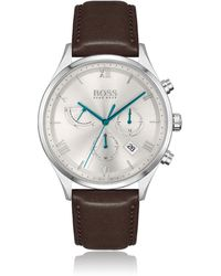 BOSS by HUGO BOSS Leather-strap Chronograph Watch With Silver-white Dial - Metallic