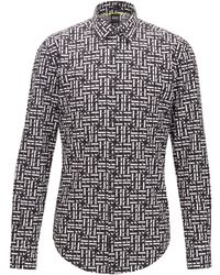 BOSS by Hugo Boss Slim-fit Shirt In Cotton With Monogram Print - Black
