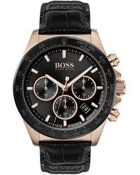 BOSS Carnation-gold-plated Chronograph Watch With Black Sunray Dial