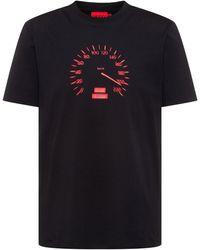 HUGO Crew-neck T-shirt In Cotton Jersey With Speedometer Artwork - Black
