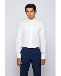 BOSS by HUGO BOSS Regular Fit Shirt In Cotton Twill With Spread Collar - White
