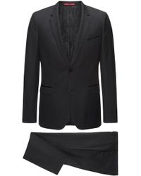 HUGO - Extra-slim-fit Three-piece Suit In Patterned Virgin Wool With Silk Trims - Lyst