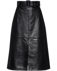 HUGO A-line Midi Skirt In Leather With Belted Waist - Black