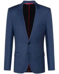 HUGO Americana extra slim fit en lana virgen con microestampado - Azul