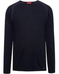 HUGO - Cotton Blend Raglan-stitched Sweater   Sevon - Lyst