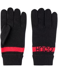 HUGO Reverse-logo Gloves In Knitted Jacquard With Cashmere - Black