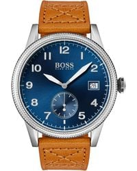 BOSS Blue-dial Watch With Textured Bezel And Tan Leather Strap - Brown