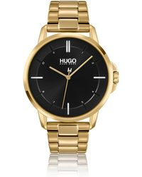 HUGO Yellow-gold-effect Watch With Link Bracelet - Metallic